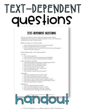 Text-Dependent Questions Handout