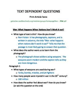 Text Dependent Questions  : Nonfiction Close Read
