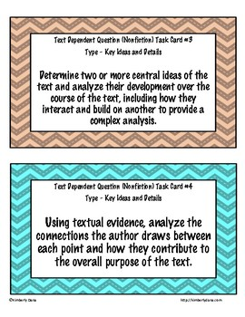 Text Dependent Questions (Nonfiction) Task Cards