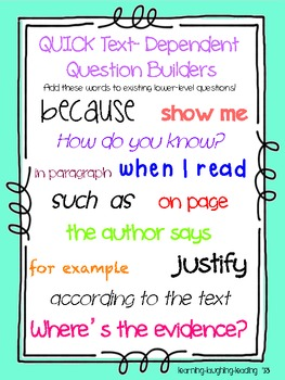 Text Dependent Questions Poster