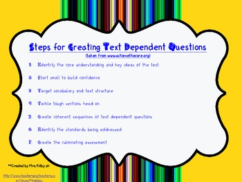 Text Dependent Questions Resource Pack w/ tips & question prompts/stems