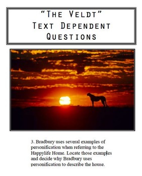 """The Veldt"" Text Dependent Questions"