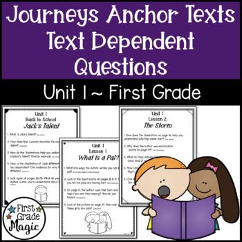 Text Dependent Questions Unit 1 Journeys (1st Grade)