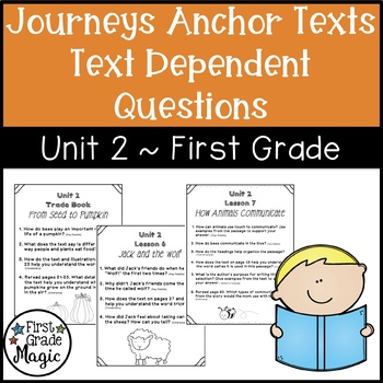 Text Dependent Questions Unit 2 Journeys (1st Grade)