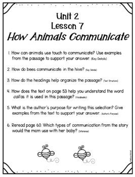 Text Dependent Questions Unit 2 Journeys (1st Grade)