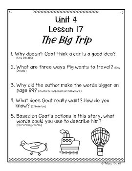 Text Dependent Questions Unit 4 Journeys First Grade