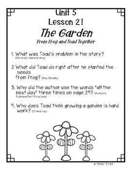Text Dependent Questions Unit 5 Journeys First Grade