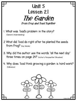 Text Dependent Questions Unit 5 Journeys First Grade