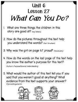 Text Dependent Questions Unit 6 Journeys First Grade