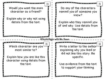 Text Dependent Questions and Reading Response Task Cards for Close Reading CCSS