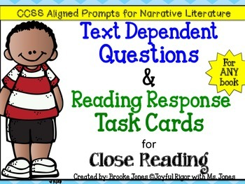 Text Dependent Questions and Reading Response Task Cards f