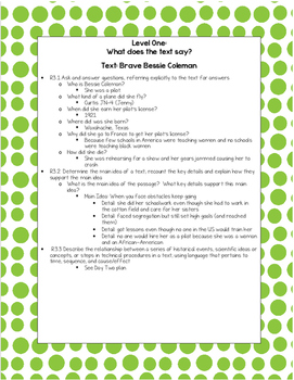 """Text Dependent Questions for """"Brave Bessie Coleman"""""""
