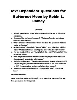Text Dependent Questions for Butternut Moon
