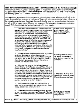 High School Common Core-Text Dependent Questions for MLK's I Have A Dream Speech