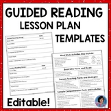 ★ Guided Reading Lesson Plan Templates {Editable}