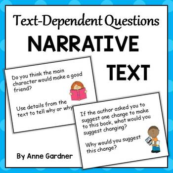 Text Dependent Questions for Use with Narrative Texts - Common Core Aligned