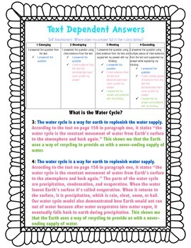 Text Dependent Rubric Self Assessment Poster