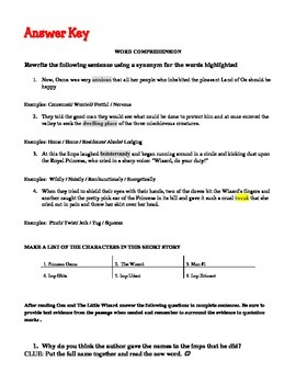Text Dependent Worksheets/ Evidence Based Writing - Ozma and the Little Wizard
