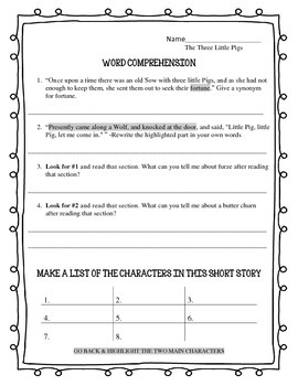 Text Dependent Worksheets. Evidence Based Writing.The Three Little Pigs
