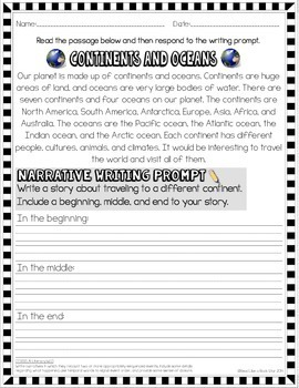 Text Dependent Writing Prompts for 1st Grade
