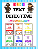 Text Detective Notebook Labels