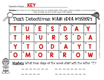 Text Detectives: Main Idea Mystery SCOOT