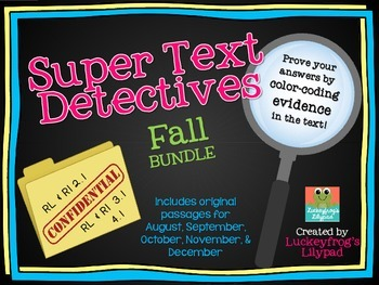 Text Detectives- Find the Text Evidence Fall BUNDLE! (Augu