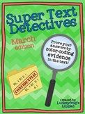Text Detectives- Find the Text Evidence! March Edition