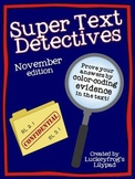 Text Detectives- Find the Text Evidence! November Edition