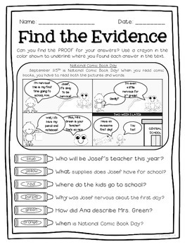 Text Detectives- Find the Text Evidence! September Edition