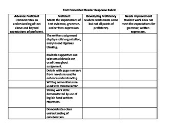 Text Embedded Reader Response rubric
