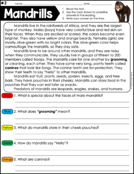 Reading Comprehension Passages - Nonfiction Text Evidence