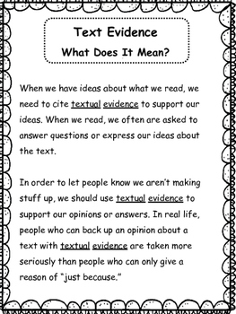 Text Evidence: Open Ended Response/ Literary Analysis