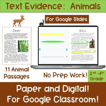 Text Evidence:  Animals!