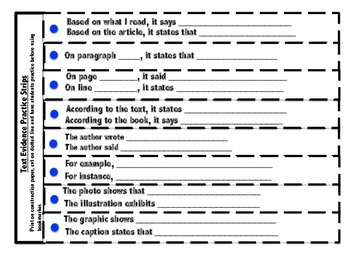 Text Evidence Bookmark, Starter Practice Strips and Classroom Charts