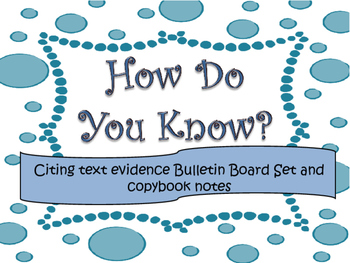 Text Evidence Bulletin Board display with copybook notes- BLUE