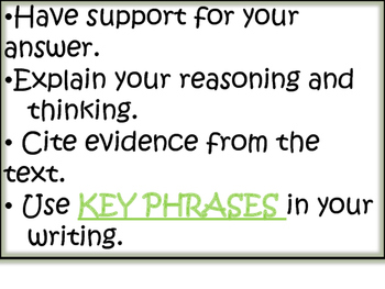 Text Evidence Bulletin Board display with copybook notes- GREEN
