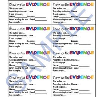 Text Evidence Cards