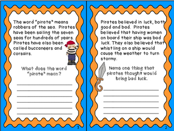 Citing Text  Evidence - Pirates - 2nd, 3rd grade