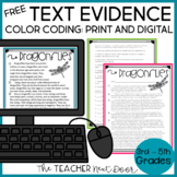 Text Evidence Color Coding Freebie | Text Evidence Freebie for 3rd - 5th Grades