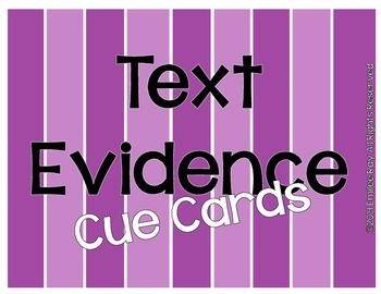 Text Evidence Cue Cards