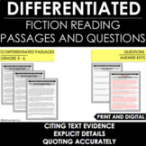 Text Evidence - Explicit Details:  Differentiated Reading Passages and Questions