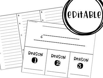 Text Evidence Foldable (EDITABLE)
