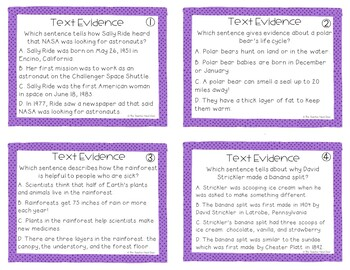 Text Evidence Games | Text Evidence Centers | Text Evidence Activities