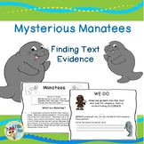 2nd, 3rd grade Text Evidence - Manatee Theme- Finding Evidence in Text