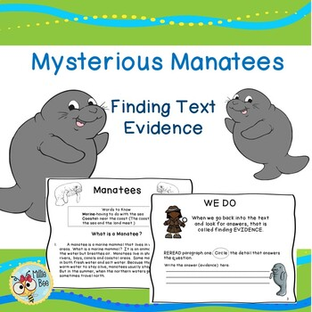 Text Evidence - Manatee Theme with Text Evidence