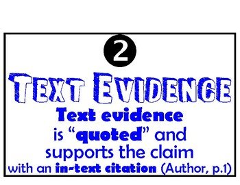 Text Evidence Mini Poster Common Core