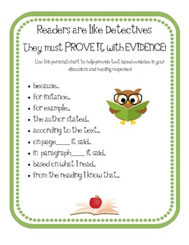 Text Evidence Personal Chart