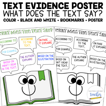 Text Evidence Poster and Bookmarks