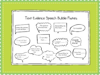 Text Evidence Sentence Stem Posters